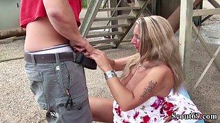 German big tit milf jenny seduce young boy to fuck outdoor