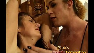 dominatrix muscly it out on a hot brunette in the country