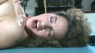 Sensual and delicious brunette licked and fucked on the pool table