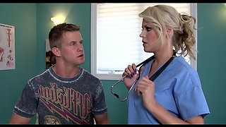 Busty blonde doctor gets an injection