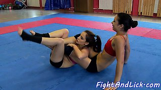 Lesbo babes wrestling and pussylicking