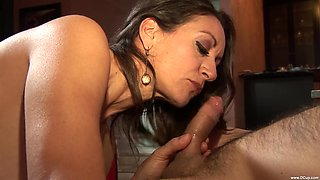 Experienced brunette Persia Monir spreads her legs for a cock