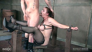 Moaning big breasted brunette in nylon stockings gets brutally mouthfucked