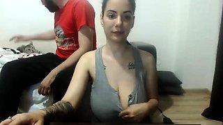 Brunette flashing her big boobs