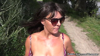 Extreme flashing in public with hot wife Marion