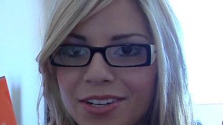 Pretty Blonde In Glasses Plays With Herself