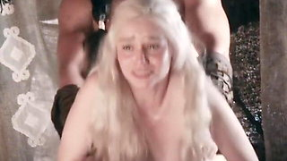 Emilia Clarke as Daenerys Targaryen fucked hard, brightened.