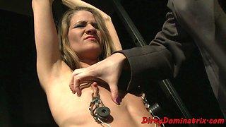 Restrained TT sub punished by redhead lezdom