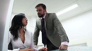 horny secretary gets filled up by her boss