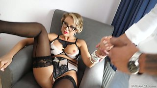 Poland chick Joanna Bujoli gets double penetrated and takes cumshots on her glasses