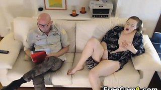 Horny Chubby Babe Seducing her Old Stud Neighbor
