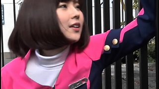 Beautiful Japanese girl in uniform is yearning for pleasure