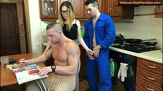 Hot hottie cheats behind her very muscular man back.