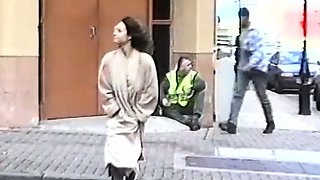 Daring British milf flashing in public