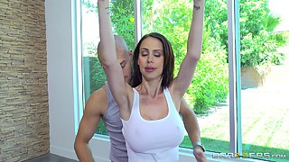 Bald instructor gives the busty babe a kind of workout that she wanted
