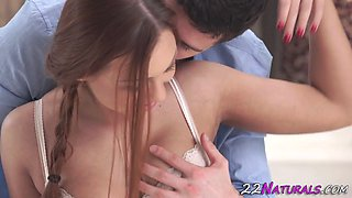 Romantic babe cum mouthed