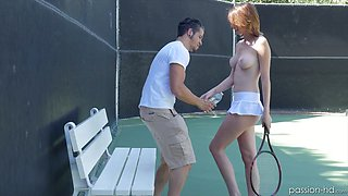 Fucking hot tennis girl Cece Capella rides dick without taking off her short skirt