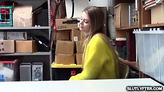 Busty teen vixen forced to strip and suck dick for shoplifting