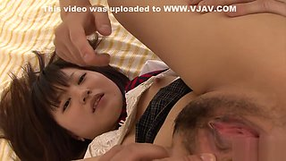 Ryo Asaka fucked in her schoolgirl uniform in japanese groupsex