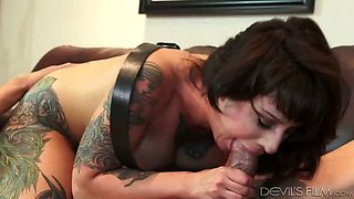 Nasty sluts are great when it comes to sex and this inked slut is a pro