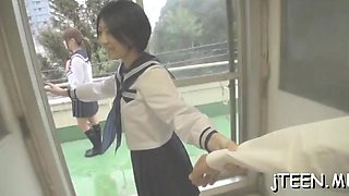 Lustful schoolgirl rides a hard shlong till she cums hard