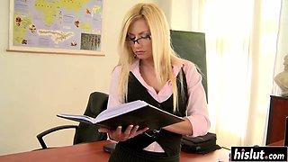 Blonde teacher masturbates in the classroom