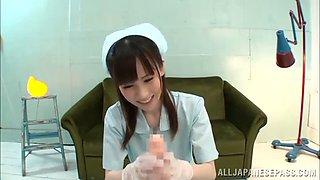 asian nurse makes a guy cum with pov handjob