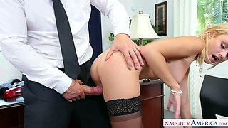 Classy secretary Inga Victoria is enjoying some steamy sex with her boss
