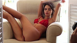 Gamine beautiful hottie Ariela gets rid of her red lingerie and goes solo