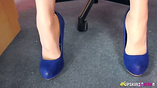 Filthy secretary April O spreads legs and shows pussy upskirt