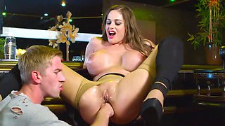 Busty doll anal fucked and made to swallow big time