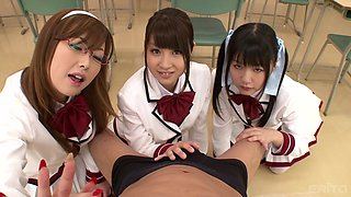 teaching the schoolgirls how to share... your cock