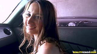 Kylie Rose gets talked into pleasing his fat cock in the car