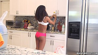 Curly haired Latina sweetie Nicole Bexley cleans the house being naked