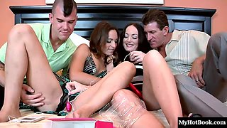 Amber Rayne and Melissa Lauren take off their panties