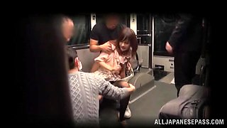 Voyeur video with Japanese chick sucking dicks in a subway train