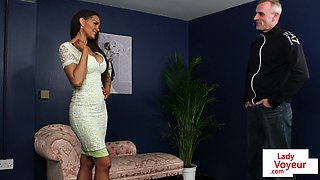busty english voyeur instructing tugging sub feature