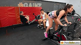 Busty babe Karlee Grey fucking a guy in the Gym