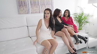 Apolonia and her insatiable friends want to ride a lucky man's dick
