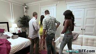 swinging naughty teens pleasing each other