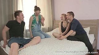 Two sweet teens kissing and getting their slits licked by boyfriends