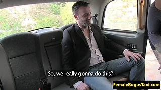 Female taxi driver gets backseat doggystyle