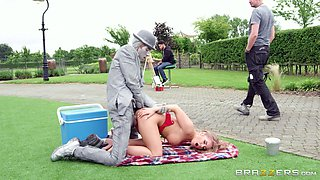 Jane doggystyle smashed hardcore while moaning outdoor