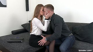 Blonde secretary Alexis Crystal gets drilled on the couch