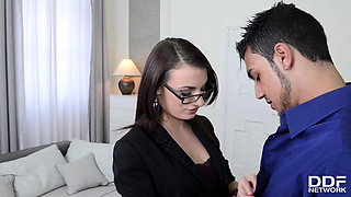 Sultry Brunette Secretary Hannah Sweet Fucked Doggy Style