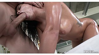 Flexible big boobs girl covered in oil and fucked in the ass
