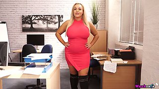 Full natural juggy secretary Jem Stone goes wild in the office