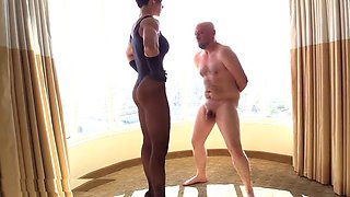 punishes muscular mistress and humble fat slave