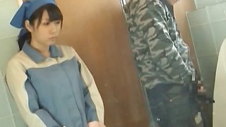 Asian toilet attendant cleans wrong part3