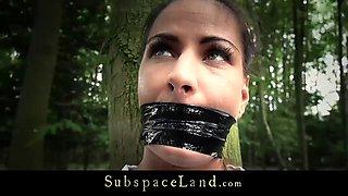 Hot Latina used in the fantasy of outdoor bondage
